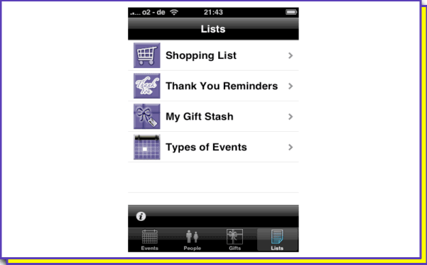 Gift track for iphone help screen lists included in gift track for easy reference are a shopping list thank you reminders list a gift stash list and a list of different types of events negle Images
